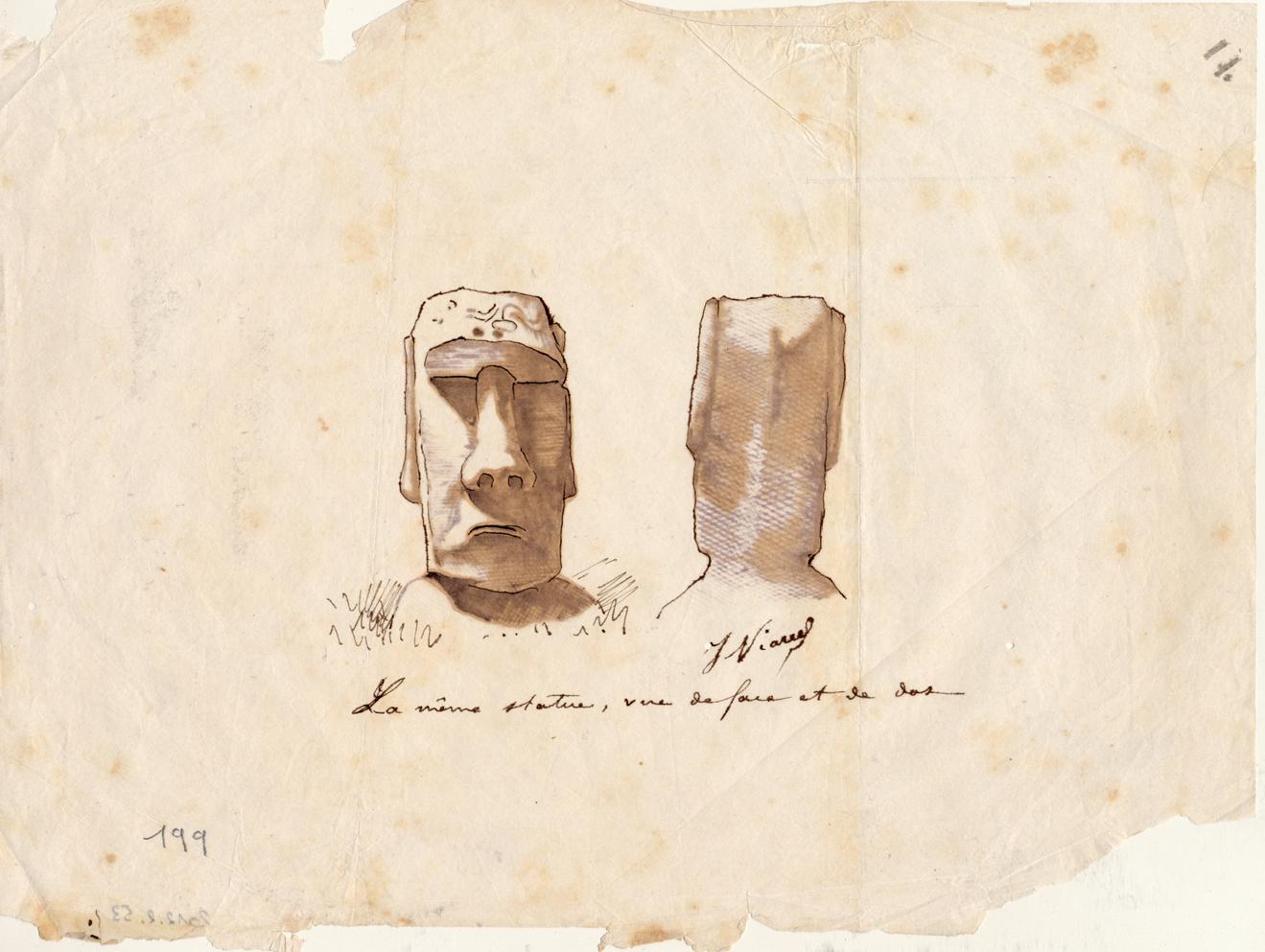 Statue moaï, dessin de Julien Viaud – Archives n°199
